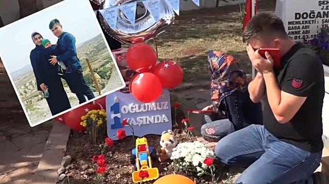 Şehit Bedirhan'ın ilk doğum günü mezarı başında kutlandı