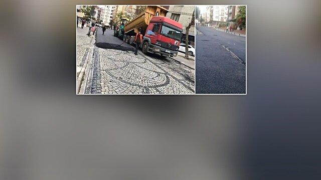 Kartal Belediyesi'nden asfalt çalışması: Parke sokağı zifte boğdular