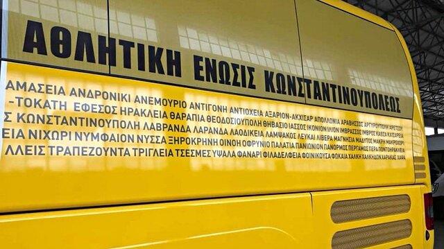 AEK'nın takım otobüsüne Türk şehirleri yazıldı