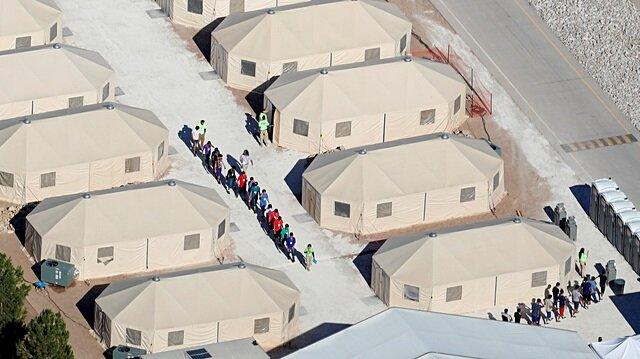 """Immigrant children, many of whom have been separated from their parents under a new """"zero tolerance"""" policy by the Trump administration, are being housed in tents next to the Mexican border in Tornillo, Texas, U.S., June 18, 2018."""