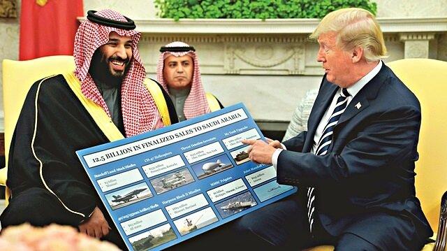 Trump, Beyaz Saray'da ağırladığı Veliaht Prens Muhammed bin Selman'ın karşısına, Suudi Arabistan'a sattıkları silahlardan kazandıkları paraları gösteren çizelgelerle çıkmıştı.