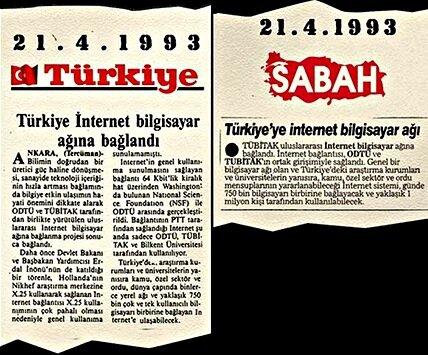 Türkiye'nin internetle tanıştığı dönemden gazete kupürleri