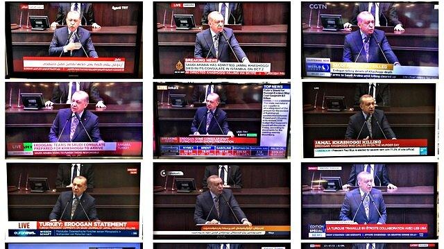 Cumhurbaşkanı Erdoğan'ın açıklamaları canlı olarak dünya medyasında.