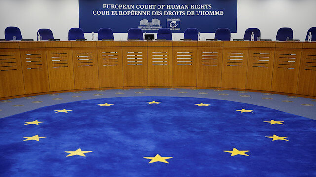 A view shows the courtroom of the European Court of Human Rights.