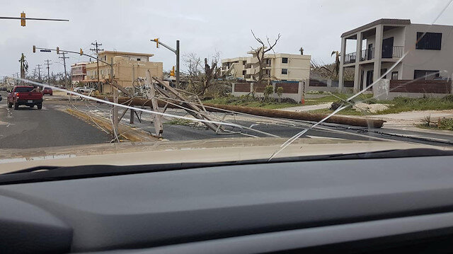 A general view of the damage after Super Typhoon Yutu hit Saipan, Northern Mariana Islands, U.S., October 25, 2018 in this picture taken through a cracked vehicle window, obtained from social media.