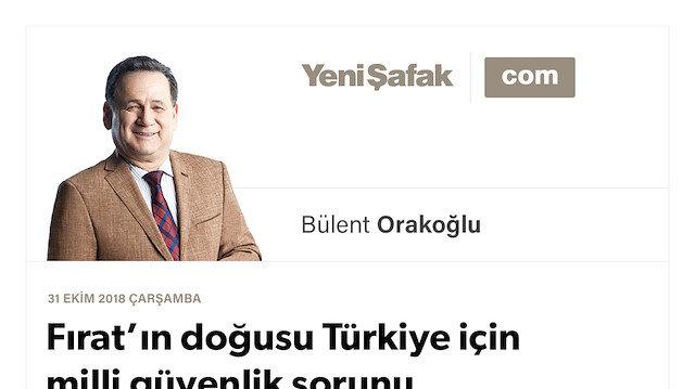 Fırat'ın doğusu Türkiye için milli güvenlik sorunu