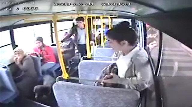 Bir anda otobüse binen köpek panik yarattı