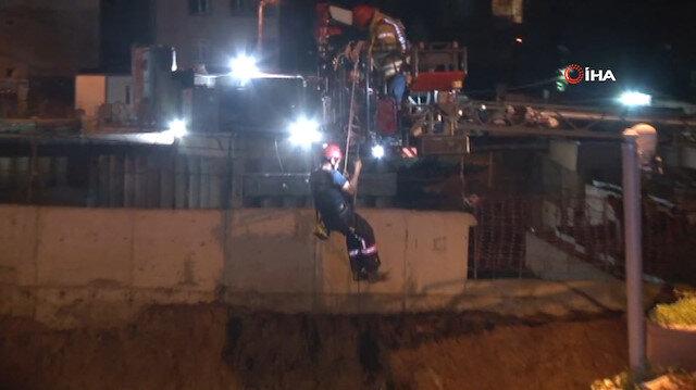 Ümraniye'de metro inşaatı çalışması sırasında yol çöktü