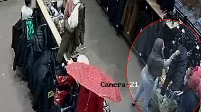 AVM'de film sahnesi gibi hırsızlık kamerada