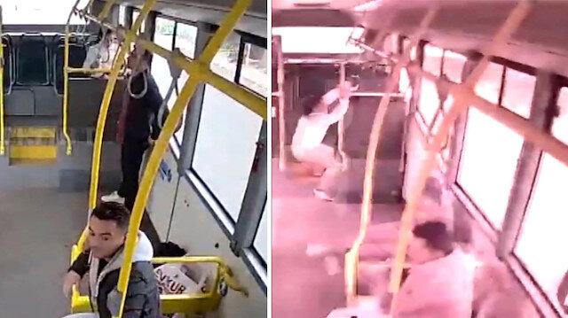 Ehliyetsiz sürücünün çarptığı otobüste yolcular sağa sola savruldu