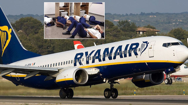 Ryanair uçağı ve 6 kişilik kabin ekibi.