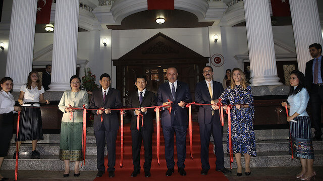 Mevlüt Çavuşoğlu, who is paying first visit by Turkey to Laos at the level of foreign minister, attends inauguration ceremony