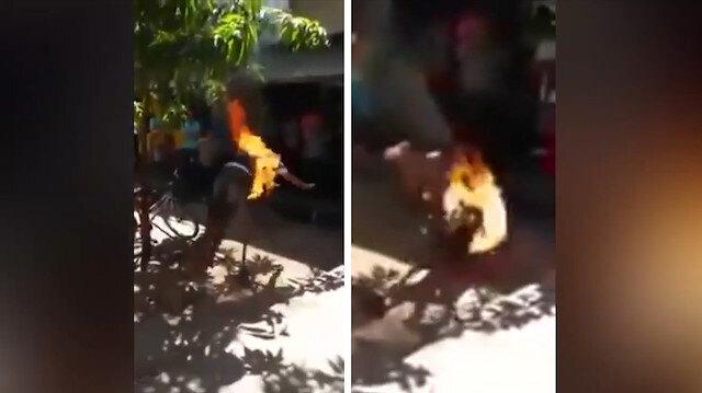 Ateş çemberiyle şov yapmak isteyen adamın hazin sonu
