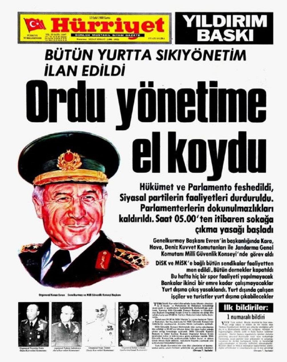 12 Eylül 1980 darbesi sabahı Hürriyet Gazetesinin manşeti.