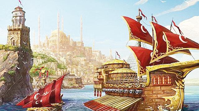 Akdeniz, Karadeniz, Kızıldeniz ve Basra'da varlık gösteren Osmanlı donanması.