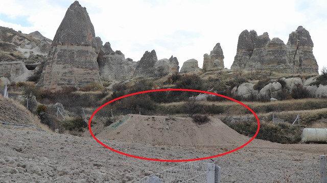 Ekipler, kaçak yapının üzerini toprakla örttü.