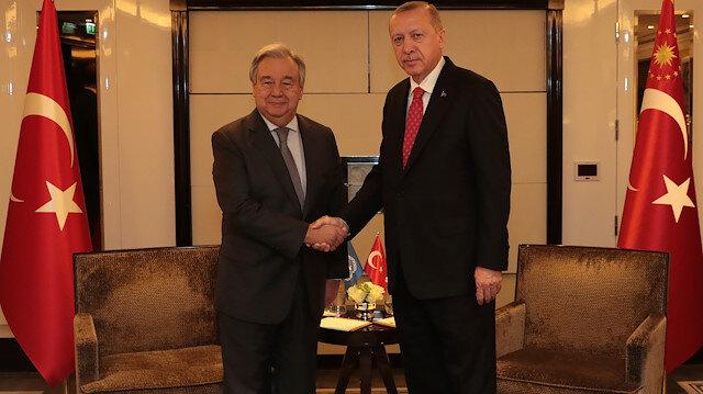 Cumhurbaşkanı Recep Tayyip Erdoğan ile BM Genel Sekreteri Antonio Guterres