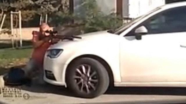 Kent merkezinde susturuculu dürbünlü tüfekle kuş avladı