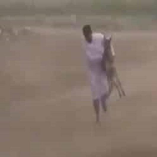 بالفيديو: شاب ينقذ حمارًا من الأمطار الغزيرة