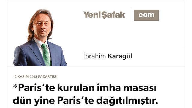 Paris'te kurulan imha masası dün yine Paris'te dağıtılmıştır. Mustafa Kemal ve Erdoğan:  Kuruluş ve yükseliş dönemi.. Artık onlar için gerileme,  bizim için yükseliş dönemi.