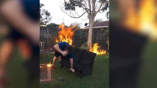 Mangal yakmak isterken bahçeyi ateşe verdi