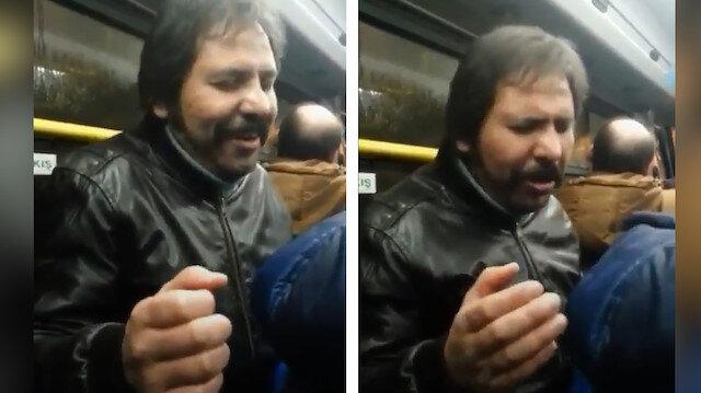 Müslüm Gürses tarzında şarkı söyleyen adam yolcuları mest etti