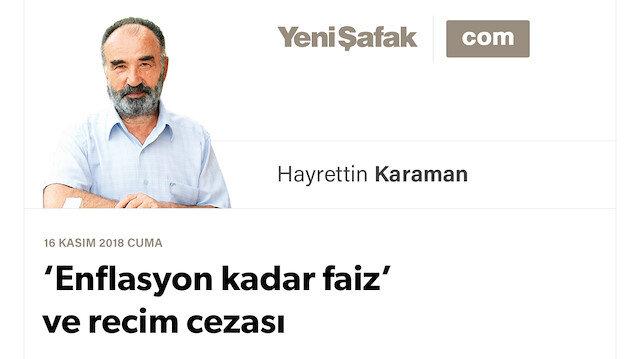 'Enflasyon kadar faiz' ve recim cezası