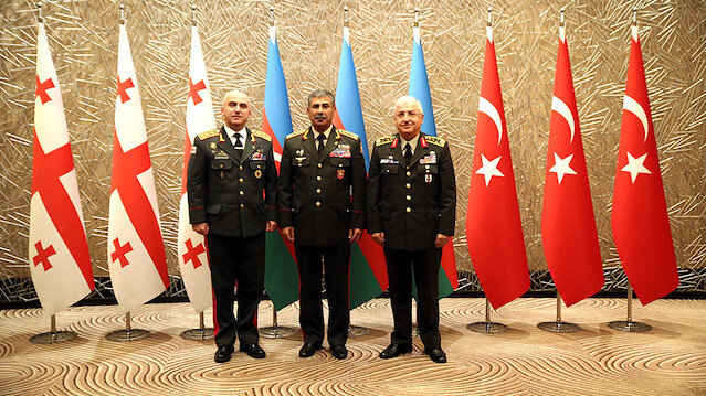 The tripartite meeting of Yaşar Güler - Zakir Hasanov - Vladimer Chachibaia