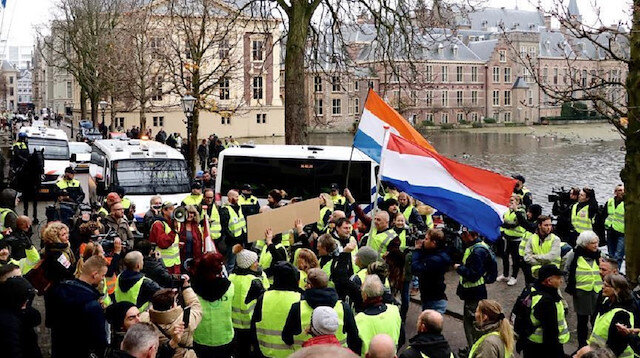"The ""yellow vest"" protests spread to the Netherlands on Saturday as people staged anti-government protests in various cities."
