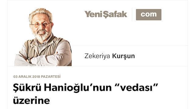 """Şükrü Hanioğlu'nun """"vedası"""" üzerine"""