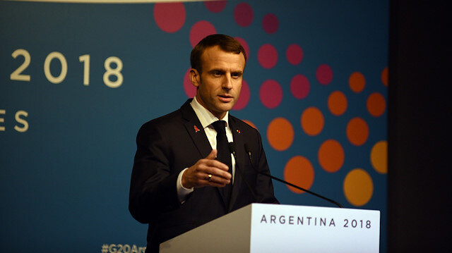 France's President Emmanuel Macron gives a news conference at the G20 leaders summit in Buenos Aires, Argentina.
