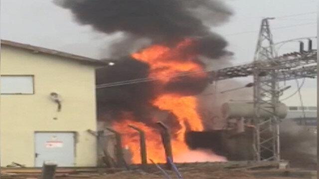 Elektrik trafosu alev alev yandı