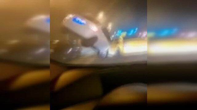 Canlı yayında trafik kazasını anbaen kaydetti