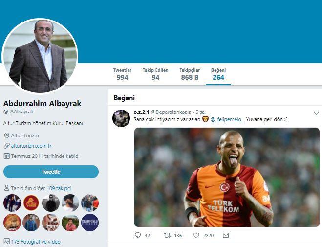 Abdurrahim Albayrak, sosyal medya hesabından Melo ilgili kendisine atılan bir mesajı beğendi.