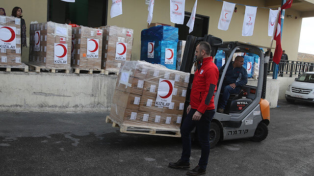 8,5 tons medicine aid of Turkish Red Crescent for Gaza
