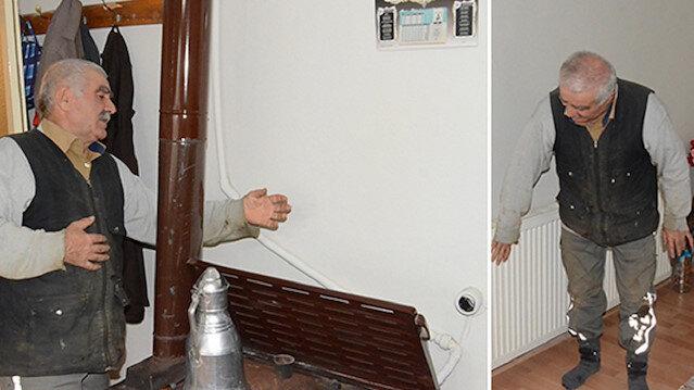 Sobalı evde sadece tek odanın ısınmasından memnun olmayan Mehmet Atlı, çözümü icatta buldu.