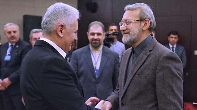 TBMM Başkanı Yıldırım, Tahran'da İranlı mevkidaşı Laricani ile bir araya geldi.