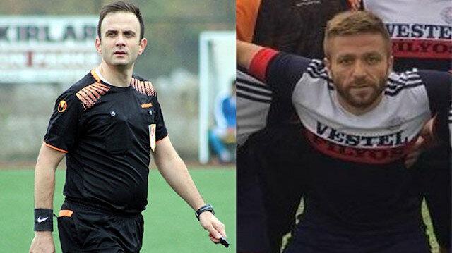 Hakem Eren Ferhat Çelik ile Filyos Ateşsporlu futbolcu Yasin Akyıldız.