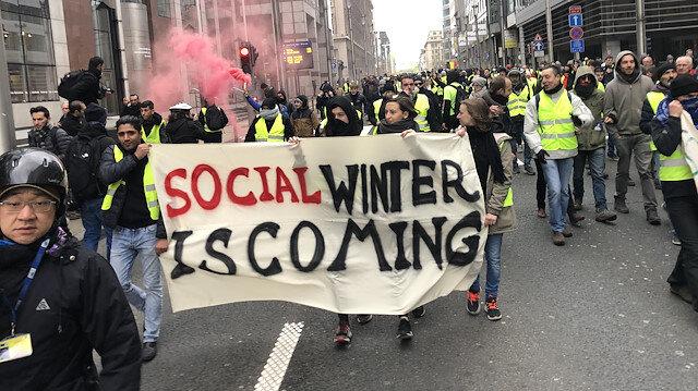 Brüksel'de 'sarı yelekliler' AB kurumlarına doğru yürüyor