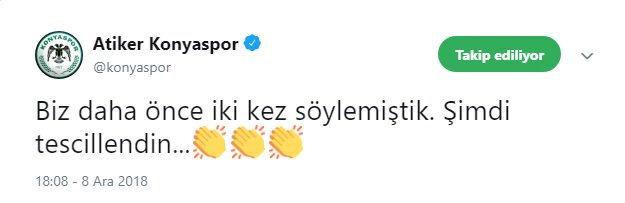 Atiker Konyaspor, maç sonu bu tweeti attı.