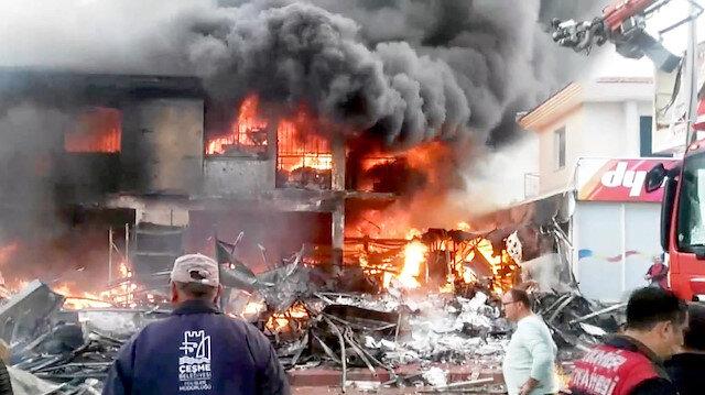 İş yerinde korkutan yangın onlarca ekip sevkedildi