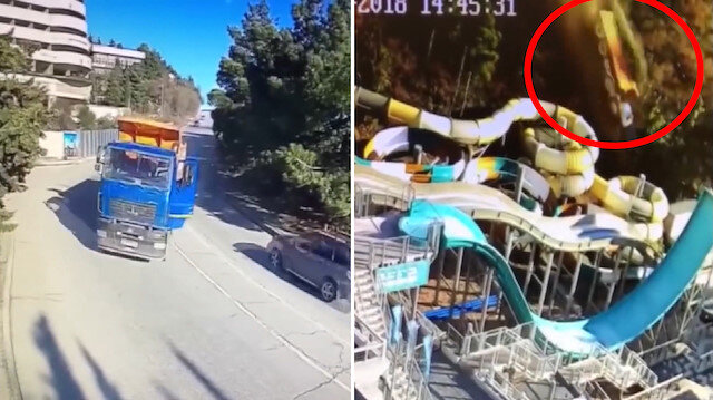 Freni patlayan kamyon su parkına uçtu