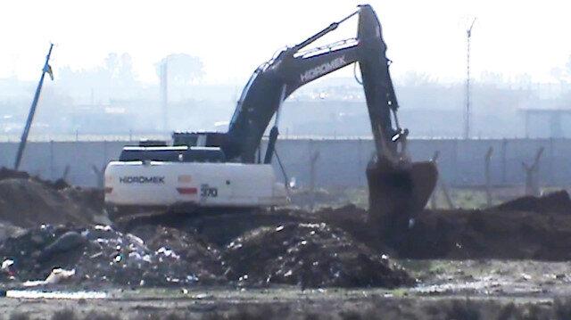 Suriye sınırındaki kanal çalışması görüntülendi