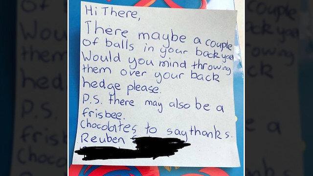 Yeni Zelanda'da bir kişi, küçük bir çocuktan aldığı notun fotoğrafını yayınladı.