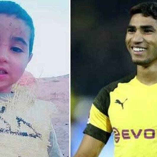 المغربي أشرف حكيمي يتجاوب مع طفل ارتدى كيسا يحمل اسمه