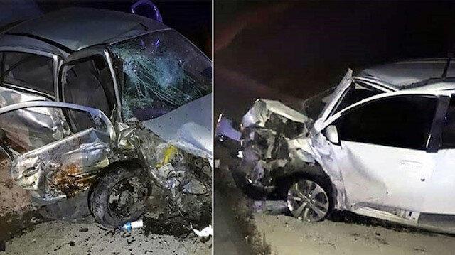 Burdur'daki zincirleme kazada çarpışan otomobillerin son hali.