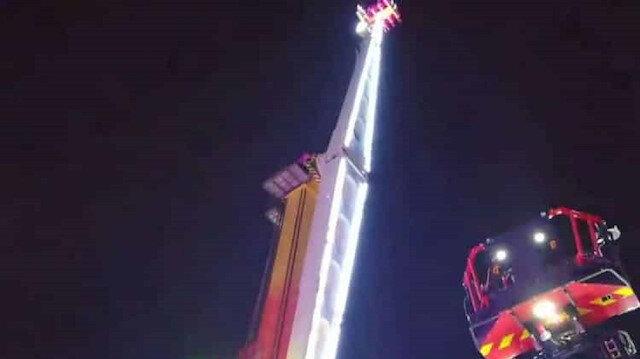 Lunapark'ta 52 metre yükseklikte asılı kalan 8 kişi kurtarıldı