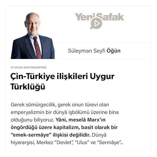 Çin-Türkiye ilişkileri  Uygur Türklüğü