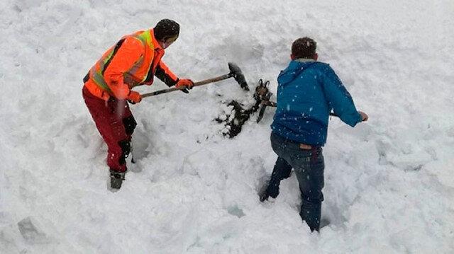 Karların altında kalan keçiyi demiryolu işçileri kurtardı.