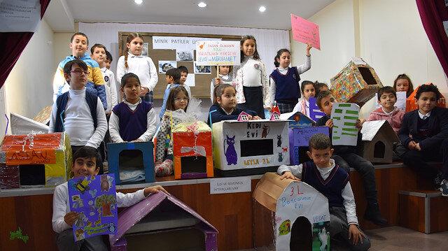 طلاب أتراك يصنعون بيوتًا لقطط الشوارع خلال الشتاء